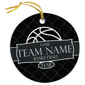 Basketball Porcelain Ornament Personalized Thanks Coach Ribbon with Basketball