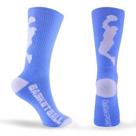 Basketball Woven Mid Calf Socks - Player (Light Blue/White)