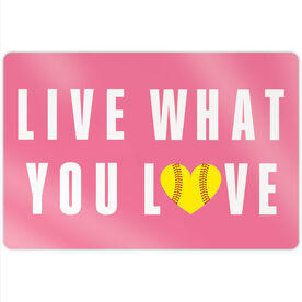 "Softball 18"" X 12"" Aluminum Room Sign - Live What You Love"