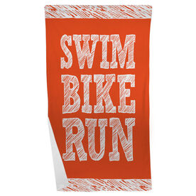 Triathlon Beach Towel Swim Bike Run Stacked