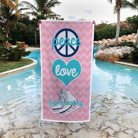 Figure Skating Premium Beach Towel - Peace Love Figure Skating