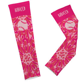 Softball Printed Arm Sleeve Personalized Tie Dye Floral Pattern with Softball
