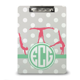 Gymnastics Custom Clipboard Monogram With Polka Dots