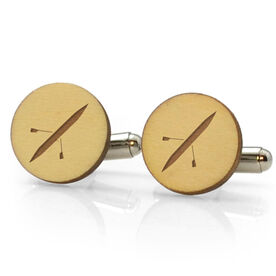 Crew Engraved Wood Cufflinks Silhouette