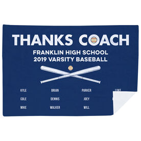 Baseball Premium Blanket - Thanks Coach (Horizontal)