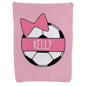 Soccer Baby Blanket - Personalized Soccer Ball Bow