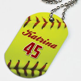 Softball Printed Dog Tag Necklace Personalized Softball Stitches