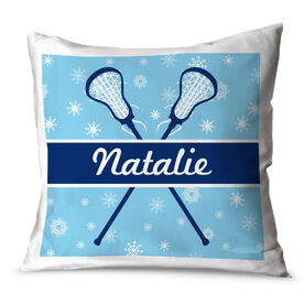 Girls Lacrosse Throw Pillow Personalized Lacrosse Winter Wonderland
