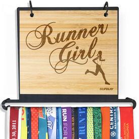 Engraved Bamboo BibFOLIO+™ Race Bib and Medal Display Runner Girl