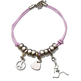 Peace. Love. Running Girl Stick Figure Charm Bracelet