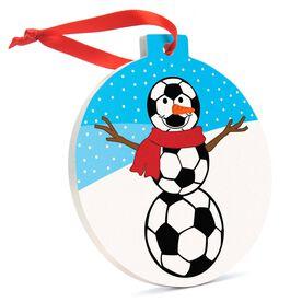 Soccer Round Ceramic Ornament -Soccer Snowman
