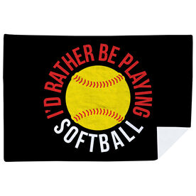 Softball Premium Blanket - I'd Rather Be Playing Softball