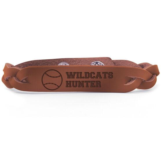 Baseball Leather Engraved Bracelet Personalized