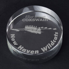 Crew Personalized Engraved Crystal Gift - Rower Silhouette with Custom Text