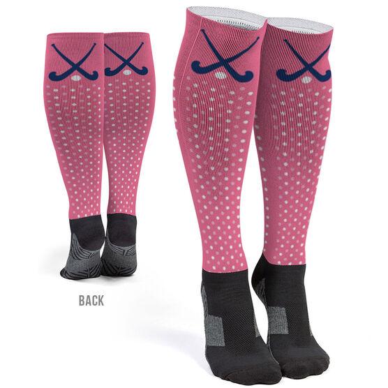 Field Hockey Printed Knee-High Socks - Crossed Sticks with Dots