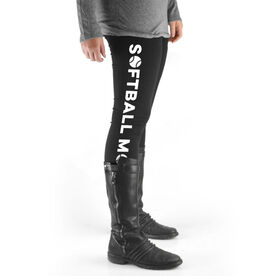 Softball High Print Leggings - Softball Mom