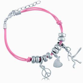 Peace Love Softball Girl (Stick Figure) Silver Charm Bracelet