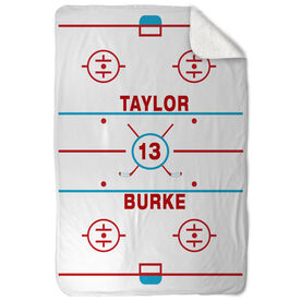 Hockey Sherpa Fleece Blanket - Personalized Ice Rink