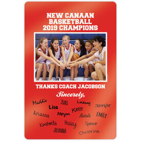 """Basketball 18"""" X 12"""" Aluminum Room Sign - Personalized Thanks Coach Team Photo with Signatures"""