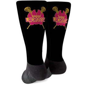 Girls Lacrosse Printed Mid-Calf Socks - Your Logo