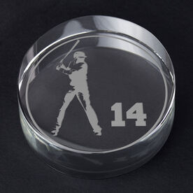 Baseball Personalized Engraved Crystal Gift - Personalized Silhouette (Batter)