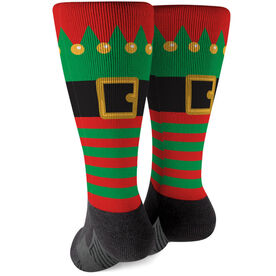 Printed Mid-Calf Socks - Christmas Elf