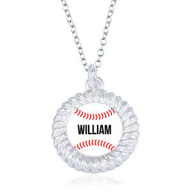 Baseball Braided Circle Necklace - Ball With Name