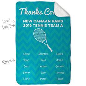 Tennis Sherpa Fleece Blanket Personalized Thanks Coach Chevron