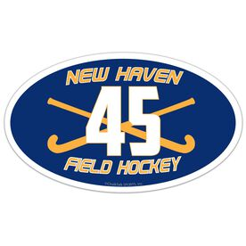 Field Hockey Oval Car Magnet Team Name and Number