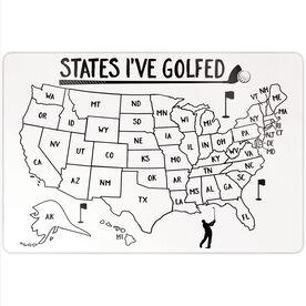 """Golf 18"""" X 12"""" Aluminum Room Sign - States I've Golfed Outline"""