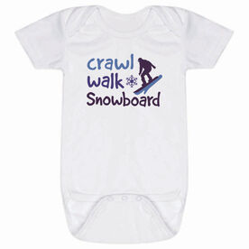 Snowboarding Baby One-Piece - Crawl Walk Snowboard