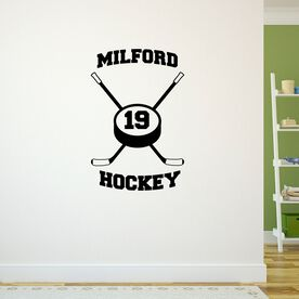 Personalized Hockey Crossed Sticks With Team Removable ChalkTalkGraphix Wall Decal