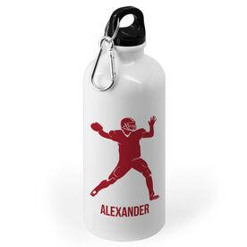 Football 20 oz. Stainless Steel Water Bottle - Football Quarterback Silhouette