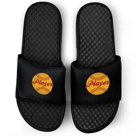 Softball Black Slide Sandals - Softball Player
