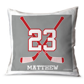 Hockey Throw Pillow Personalized Crossed Sticks