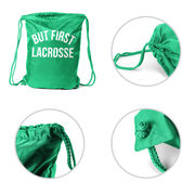 Lacrosse Sport Pack Cinch Sack - But First Lacrosse
