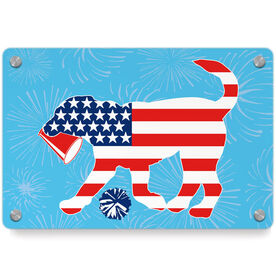 Cheerleading Metal Wall Art Panel - Patriotic Coco The Cheer Dog