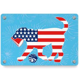 Cheerleading Metal Wall Art Panel - Patriotic Coco The Cheer Dog