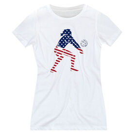 Volleyball Women's Everyday Tee - Volleyball Stars and Stripes Player