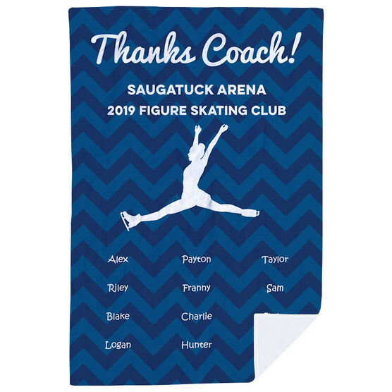 Figure Skating Premium Blanket - Personalized Thanks Coach Chevron
