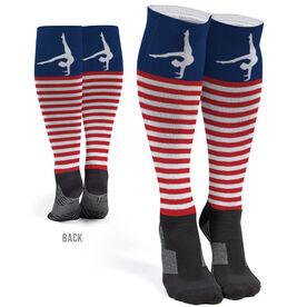 Gymnastics Printed Knee-High Socks - Patriotic Stripes