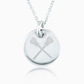 Sterling Silver Lacrosse Crossed Sticks Engraved 20mm Pendant Necklace