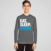 Swimming Long Sleeve Performance Tee - Eat. Sleep. Swim.