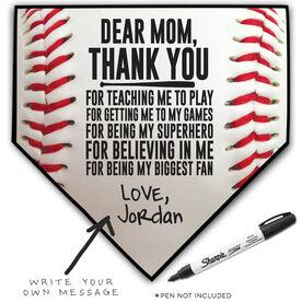 Baseball Home Plate Plaque - Dear Mom