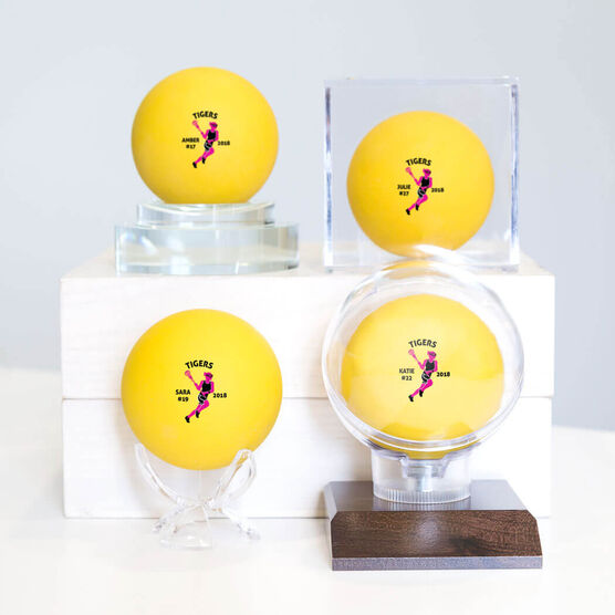 Personalized Printed Lacrosse Ball Girls Team Silhouette (Yellow Ball)