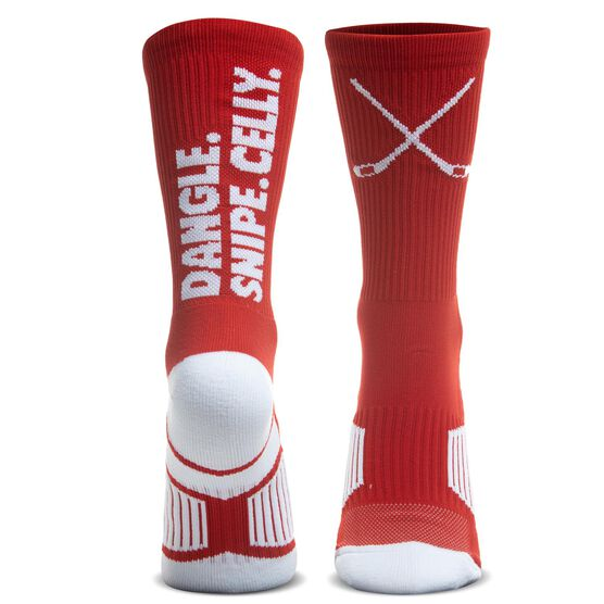 Hockey Woven Mid-Calf Socks - Dangle. Snipe. Celly.