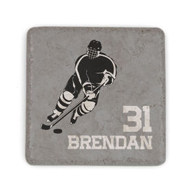Hockey Stone Coaster - Personalized Hockey Player Silhouette