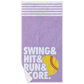 Softball Premium Beach Towel - Swing & Hit & Run & Score