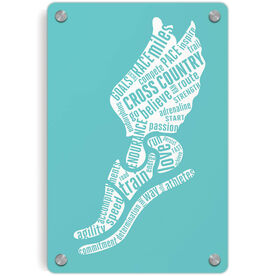 Cross Country Metal Wall Art Panel - Inspirational Words Winged Foot
