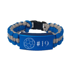 Soccer Paracord Engraved Bracelet - Soccer Ball with 1 Line/Blue
